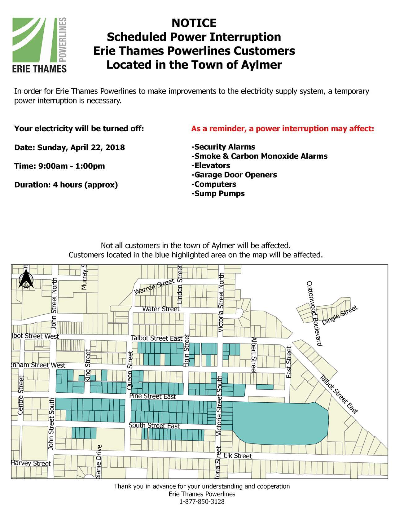 Schedule Power Outage - Aylmer - April 22, 2018 - ERTH Power